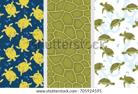 Turtle Pattern Seamless Vector Set Cute Funny Turtles Colorful Backgrounds