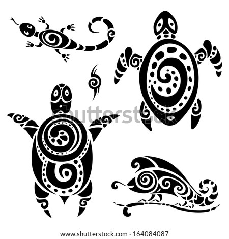 Turtle Polynesian tattoo Tribal pattern set Vector illustration