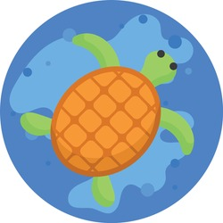 turtle swimming in lake Landscape Concept, Animal in Wate Vector Color Icon Design, Nature Lover Symbol on White background, Heart in nature Stock illustration, Beautiful scenery Ideas in Round Shape,