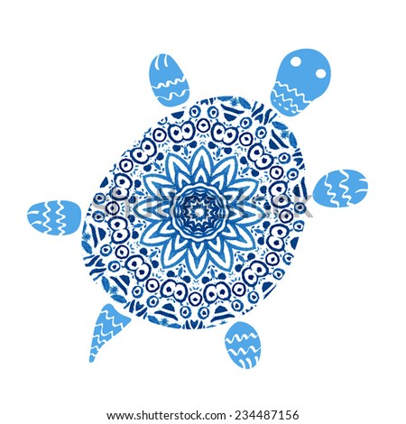 turtle with mandala pattern