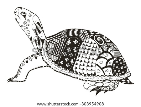 turtle zentangle stylized
