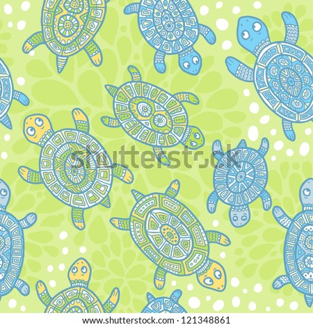 Turtles seamless pattern - green and blue