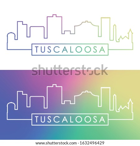 Tuscaloosa skyline. Colorful linear style. Editable vector file.