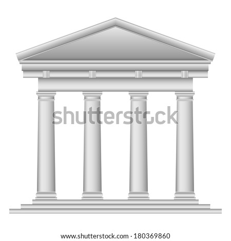 tuscan roman temple on white