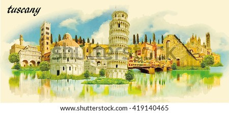 tuscany city water color