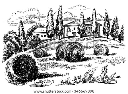 tuscany landscape graphic hand