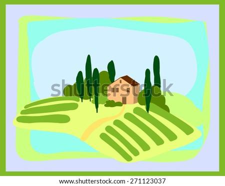 tuscany landscapes  illustration