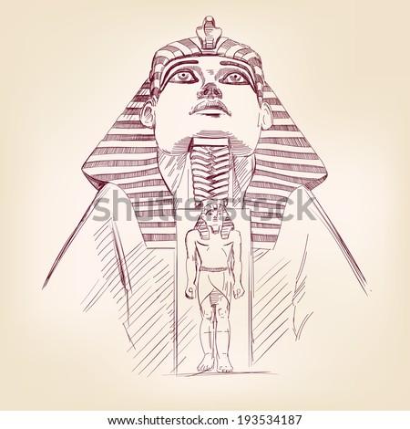 Tutankhamun Egyptian Pharaoh hand drawn vector llustration realistic sketch Stock photo ©