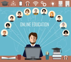 Tutor and his online education group on the world map background. Concept of distance education and e-learning. Tutor instructs students from different countries. Education and science icons.