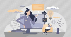 Tutor as private teacher for effective educational growth tiny person concept. E-learning method for academic knowledge development vector illustration. Distant lessons as online skill improvement.