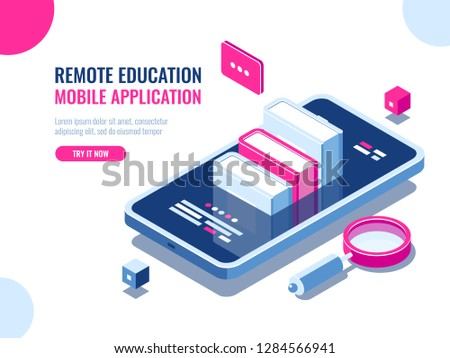Tutorial on mobile phone application, online education, internet course, data searching, archive ebook cartoon flat vector illustration