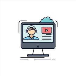 tutorials, video, media, online, education Flat Color Icon Vector