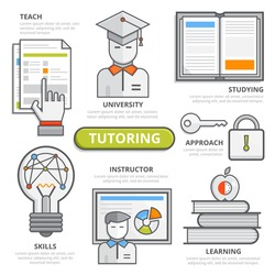 Tutoring design concept, flat line design elements of  teach, studying, university, skills, instructor, learning, approach, coaching, qualification, graduation. Illustration, Infographic template.