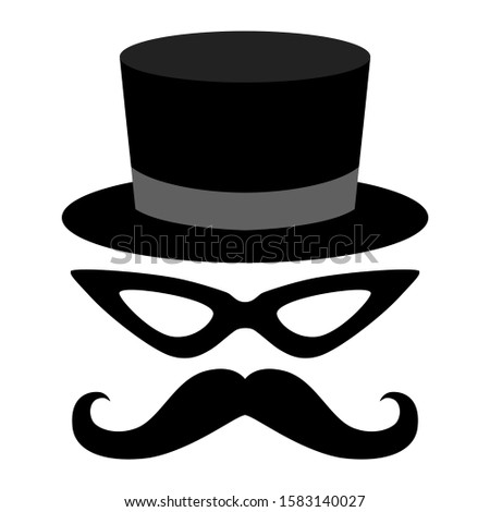 Tuxedo set with hat, mask and mustache. Vector illustration for web. mustaches sign isolated on white background