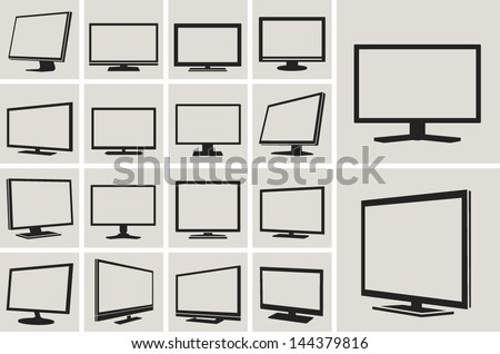tv and monitor web vector icons set
