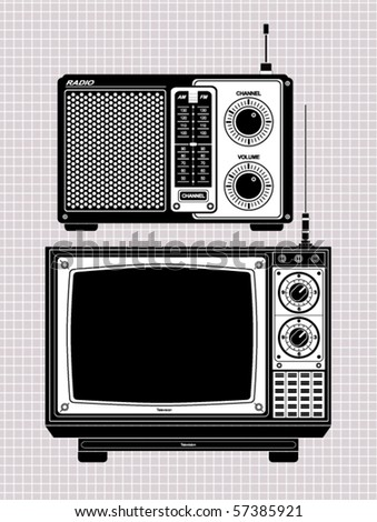 tv and radio - stock vector