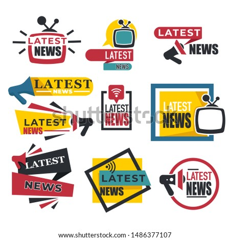 TV and radio broadcast, latest news isolated icons vector. Live info online broadcasting, Internet stream or television, frequency. Bullhorn or loudspeaker emblem or logo, event or accident reporting