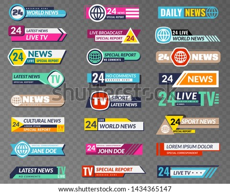 Tv banners. Broadcasting graphic interface, tv streaming lower bar title. News television channel screen header vector isolated video abstract broadcast hd show set