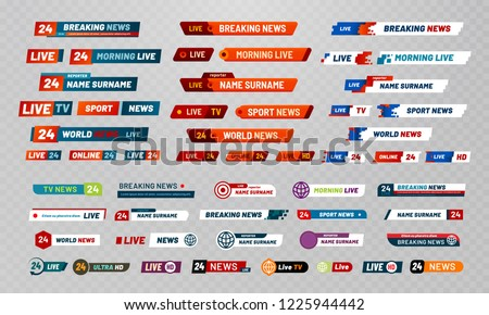 Tv broadcast title. Television broadcasting channels banners, show titles and news live video banner. Channel header world breaking streaming news interface. Isolated icons vector set