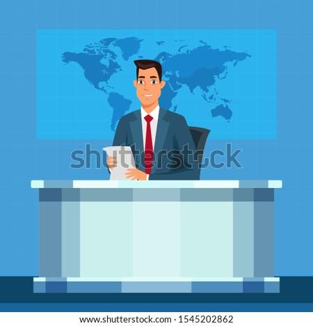 TV broadcasting presenter vector illustration. Anchorman flat character. Linkman, announcer, broadcaster speech. Cartoon male television program presenter on television studio background