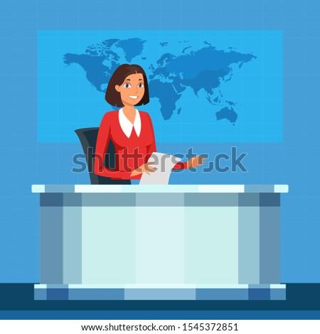 TV broadcasting presenter vector illustration. Anchorwoman flat character. Announcer, broadcaster speech. Cartoon female television program presenter on television studio background