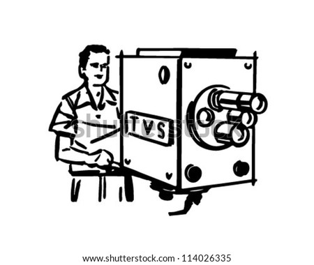 TV Cameraman - Retro Clipart Illustration