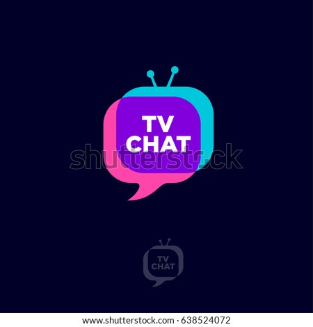 TV chat logo. Chat emblem. Bubble and funny TV with letters on a dark background.