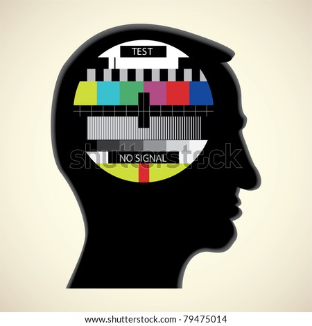 tv color test in human head - abstract illustration