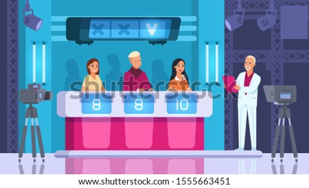 TV contest. Cartoon word competition game with contestants, backstage and winner. Vector scene popular show with cameras and light. Guessing word and press button on podium