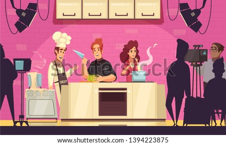 TV cooking show contest cartoon composition with participants making soep salad chef camera operators host vector illustration