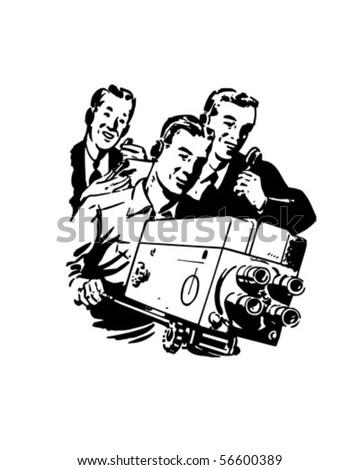TV Crew - Retro Clip Art