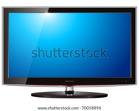 TV flat screen lcd, plasma realistic vector illustration.
