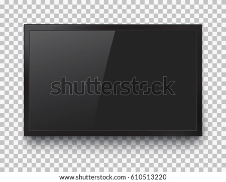TV frame. Black flat led monitor of computer or TV isolated on a transparent background. Vector blank screen lcd, plasma, panel for your design