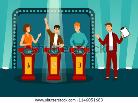 TV game show with three participants answering questions or solving puzzles and host. Smiling men and women participate in television quiz. Colorful vector illustration in flat cartoon style