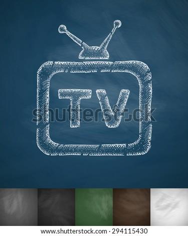 tv icon hand drawn vector