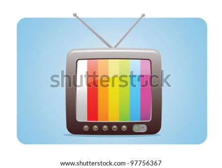 TV Icon With Test Panel Screen Fully Editable - stock vector