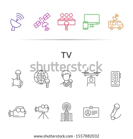 TV icons. Simple icons collection on white background. Satellite, live broadcast, voice recorder. Broadcasting concept. Vector illustration can be used for topics like television, media, news