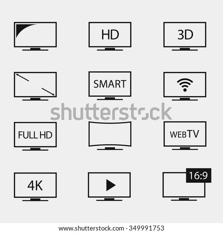 TV icons vector set. TV screens on a white background. Isolated silhouettes television in flat style.