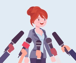 Tv interview microphones, broadcasting female speech. Happy popular young woman recording opinion, business, political celebrity giving comments for news. Vector flat style cartoon illustration
