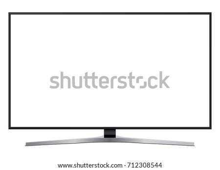 TV led, modern television isolated with white screen.