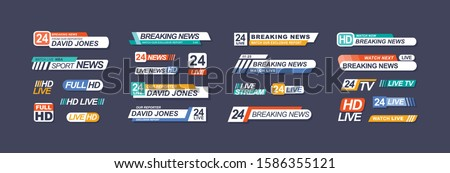 TV live news bars vector illustrations set. Headline titles design templates isolated on dark background. Television channel broadcasting service collection. Breaking news lower third.