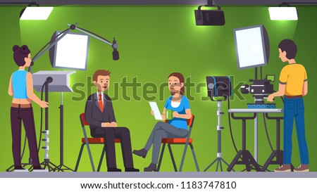 TV live news show host interview. Television presenters, cameraman video camera shooting crew. Broadcasting production studio set, stage light equipment, green background. Flat vector illustration