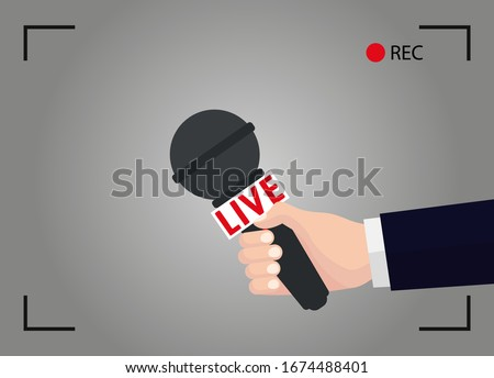 TV live report. Hand holding mic in the camera. News illustration on focus TV and live with camera frame and record vector.