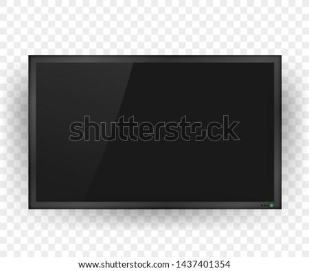 TV, modern blank screen. Lcd tv screen. Vector stock illustration.