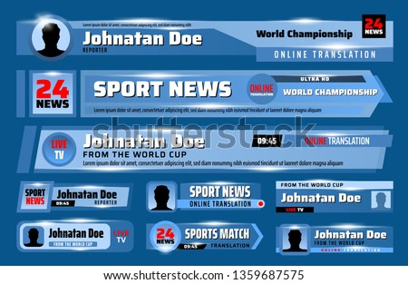 TV news bars and lower third banners vector template set. Breaking, sport and fake news, live stream translation video headline titles. Broadcast and television interface themes design