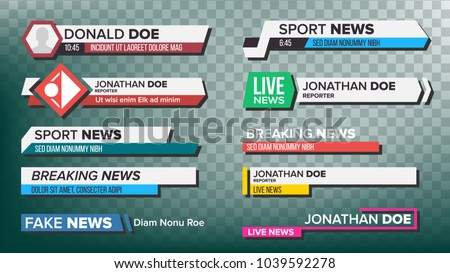 TV News Bars Set Vector. Breaking, Sport News. Media labels Tag For Television Broadcast. Isolated Illustration