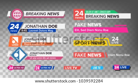 TV News Bars Set Vector. News Banner For TV Streaming. Full Hd, Live Stream. Isolated Illustration