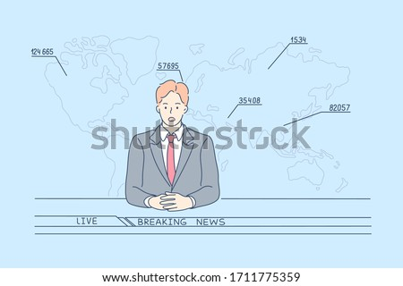 TV news report concept. Young man cartoon character television host telling television breaking reportage at studio looking at camera. Coronavirus infection statistics in live broadcast illustration.
