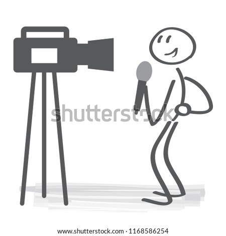 TV news studio with broadcaster and vector illustration concept. broadcasting journalist