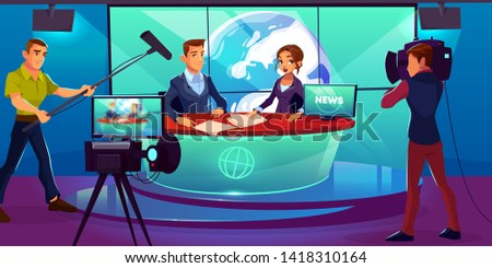 Tv news studio with television presenters reporting in broadcasting room with earth on huge screen, shooting cameraman, video camera, crew with microphone, light equipment. cartoon vector illustration